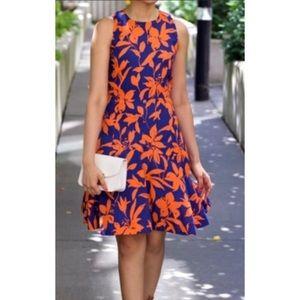 J. Crew Blue & Orange Floral Fit & Flare Dress